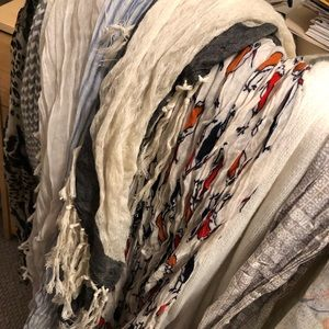 Assorted GAP scarves, various patterns and texture